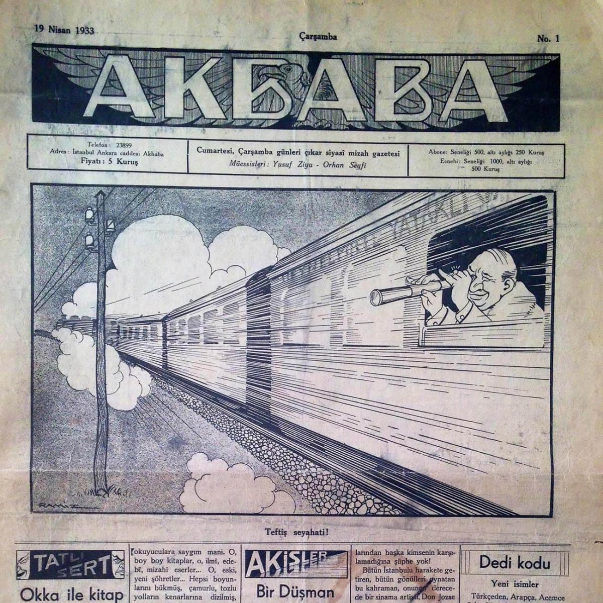 1933 Yılında tekrar bağımsız yayımlanan Akbaba Gazete formunda 73 sayı yayımlanmıştır.